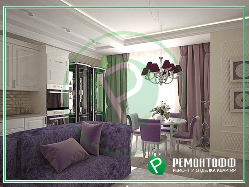Дизайн гостиной комнаты 18м2 в классическом стиле. Индивидуальный дизайн гостиной с кухней. Услуги разработки дизайна и ремонта квартир.