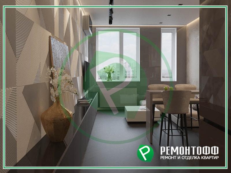Дизайн 1-комнатной квартиры в современном стиле. Индивидуальный дизайн + 3Д визуализация. Услуги разработки дизайна и ремонта квартир.